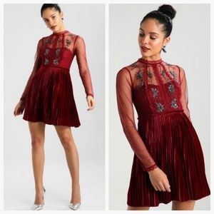 FREE PEOPLE $300 NWT Wine Velvet Beaded Lace Dress